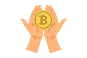 Hands holding bitcoin