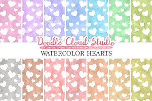 Watercolor Hearts digital paper