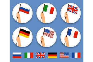 Hands holding different countries flags set