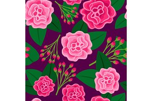 Floral pattern with big pink flower
