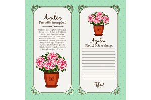Vintage label with potted flower azalea