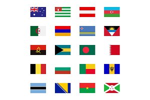 World flat flags icons set