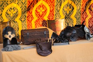 ancient armor, trunk and bag