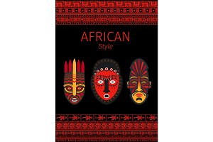 African style red borders and mask