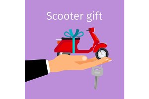Man hand holding gift scooter
