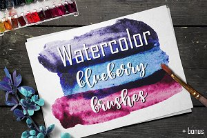 22 Watercolor blueberry brushes.
