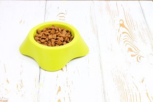 Yellow-green bowl with dry cat food on a white wooden floor