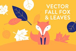 Vector Fall Leaves and Fox