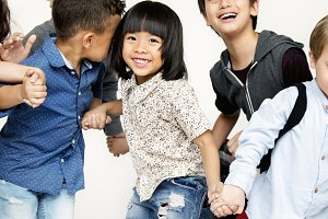 Cheerful kids friends having fun