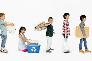 Kids recycling garbage