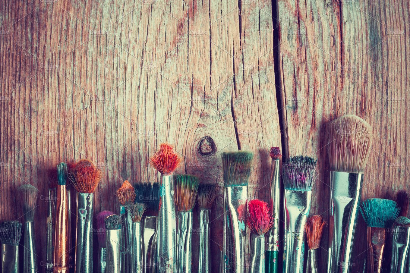 Row Of Artist Paint Brushes Arts Entertainment Photos Creative Market