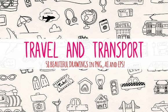 58 Travel Transport Holiday Elements