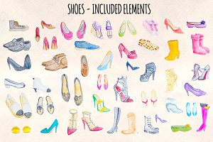 44 Watercolor Heels, Sneakers, Shoes