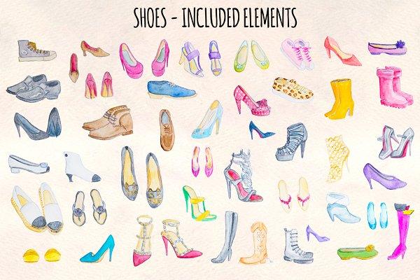 44 Watercolor Heels, Sneakers, Shoe…