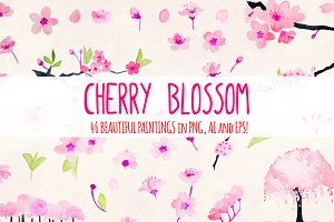 Cherry Blossoms 46 Floral Elements