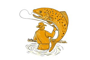 Fly Fisherman Reeling Trout Drawing