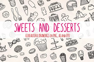 68 Sweets Desserts Graphic Sketches