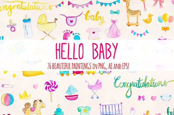 Hello Baby 76 New Baby Elements in Illustrations