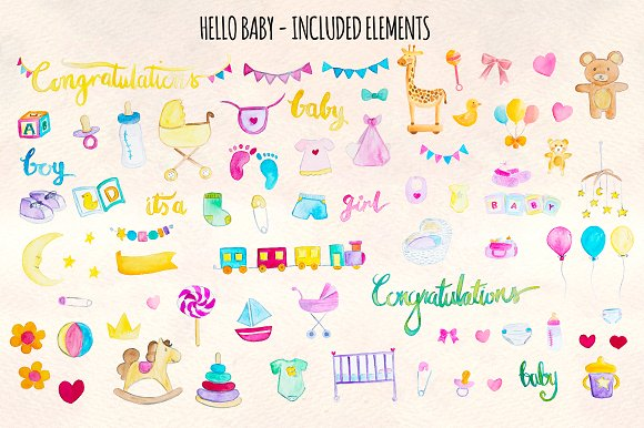 Hello Baby 76 New Baby Elements in Illustrations - product preview 1