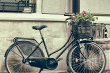 Old bicycle carrying flowers