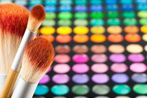 Makeup brushes and eye shadows