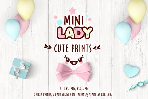 Cute vector prints for baby apparel