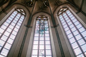 Old stained-glass Windows in the Catholic Church