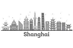 Outline Shanghai Skyline