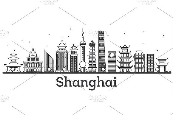 Outline Shanghai Skyline