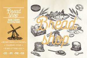 Hand drawn bread shop illustrations