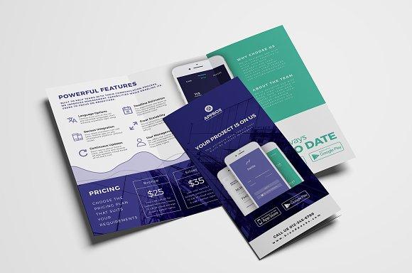 mobile app trifold brochure template brochure templates creative market