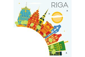 Riga Skyline with Color Buildings