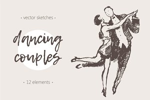 Illustrations of dancing couples