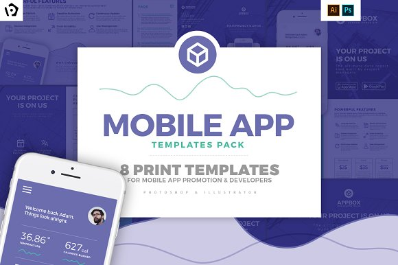 Mobile App Templates Pack-Graphicriver中文最全的素材分享平台