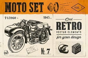 Motorcycle Retro Set