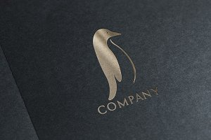 Premium Penguin Logo & Mock-Up