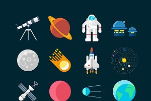 Space Universe Colored Icon Set