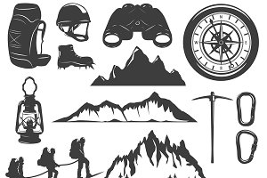 Mountain Climbing Icons Set