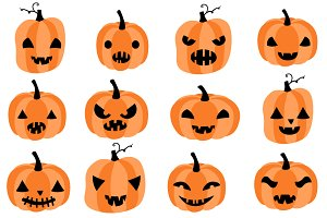 Cute Halloween pumpkins clipart set