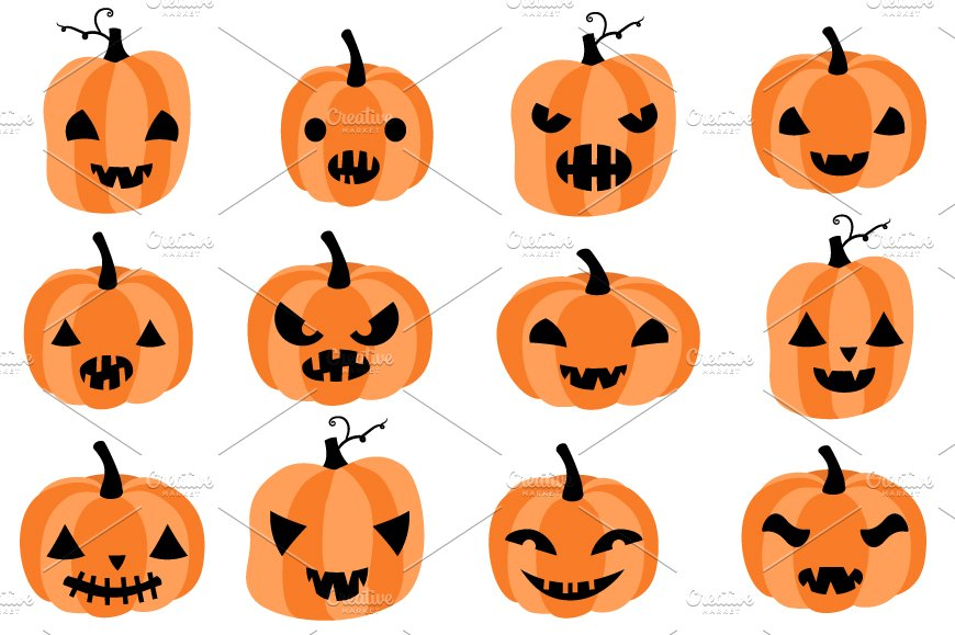 Cute Halloween pumpkins clipart set ~ Illustrations ...