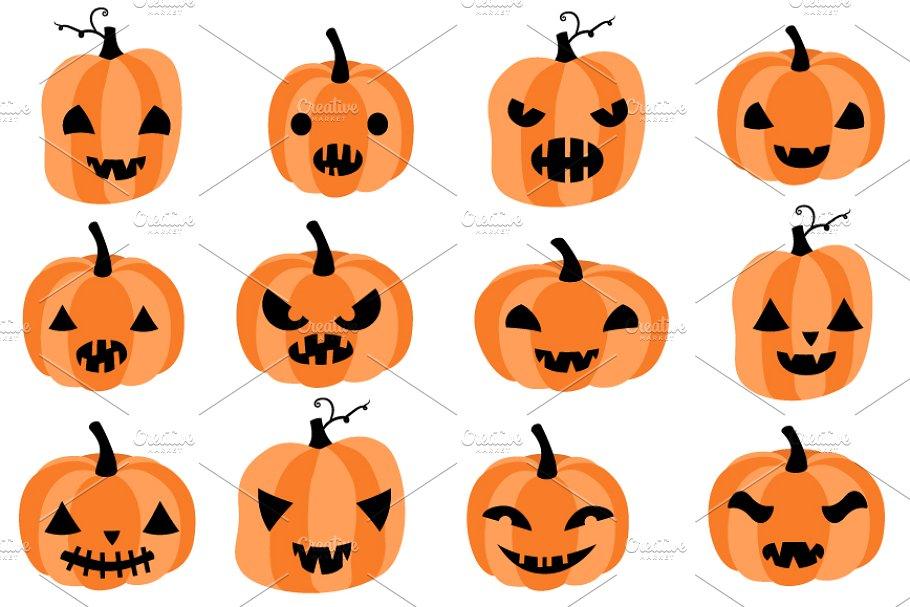 Halloween Pumpkin Images Clip Art.Cute Halloween Pumpkins Clipart Set