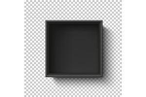 Black empty box on transparent background. Top view.