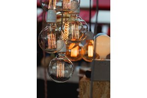 Close-up of beautiful vintage light bulbs at the festival