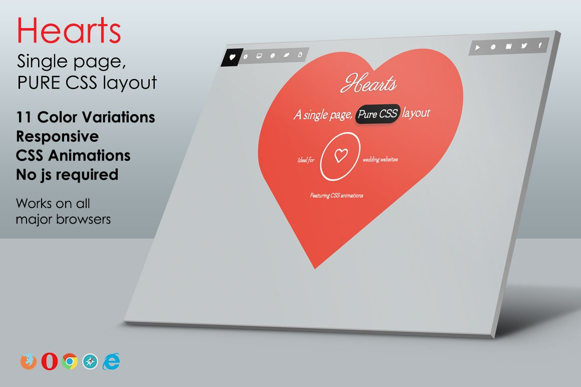 Hearts - Pure CSS One Page Layout ~ Website Templates ~ Creative Market