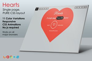 Hearts - Pure CSS One Page Layout