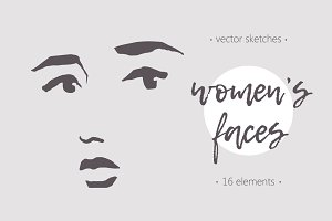 Sketches of women's faces