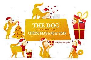 Yellow dog symbol of New Year 2018