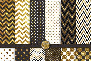 Gold Glitter Chevron Polka Dot Set