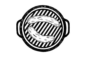 Sausages grilling on barbecue engraving vector