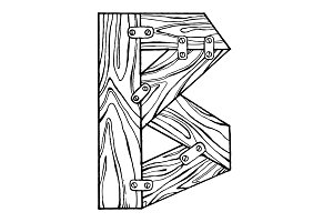 Wooden letter B engraving vector illustration